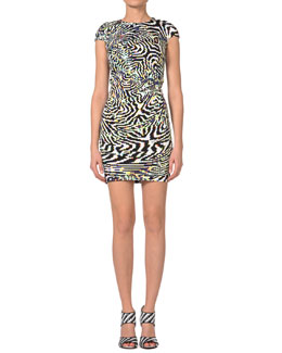 Just Cavalli Psychedelic Zebra-Print Cap-Sleeve Dress