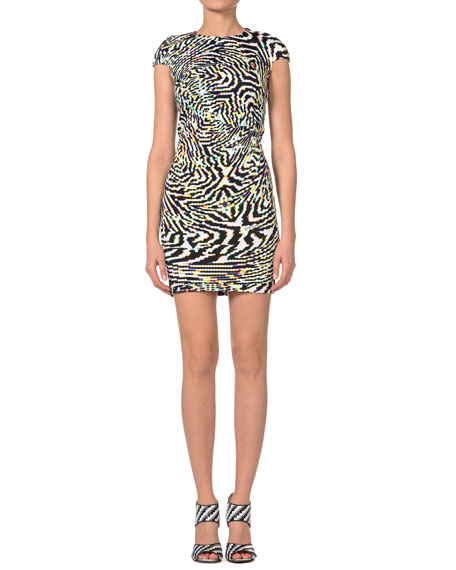 Psychedelic Zebra-Print Cap-Sleeve Dress
