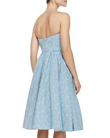 Strapless Jacquard Party Dress, Light Blue/Multicolor