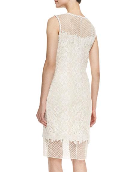 Sleeveless Illusion Bodice & Hem Dress, White