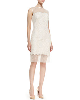 Tadashi Shoji Sleeveless Illusion Bodice & Hem Dress, White