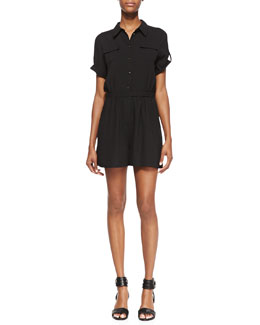 Shoshanna Giovanna Short Sleeve Button-Down Romper, Black