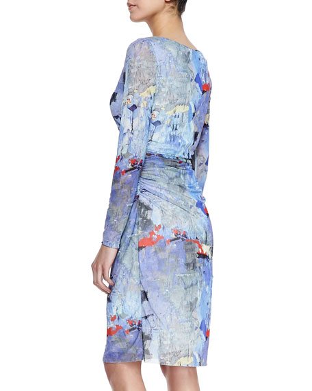 Long-Sleeve Abstract-Print Dress, Blue/Multicolor