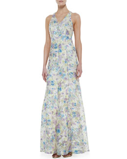 Phoebe by Kay Unger Sleeveless Sequined Floral-Print Gown, Ivory/Multicolor