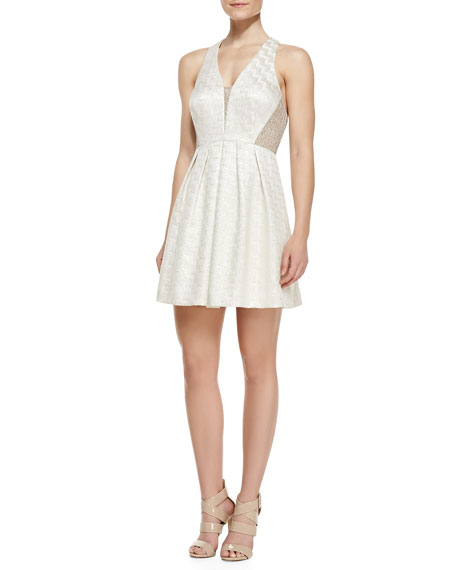 Sleeveless Contrast Panel Cocktail Dress, Pearl/Beige