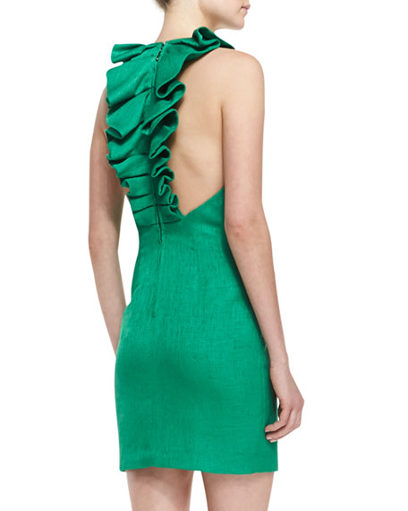 Sleeveless Ruffle-Back Cocktail Dress, Emerald