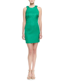 Badgley Mischka Sleeveless Ruffle-Back Cocktail Dress, Emerald