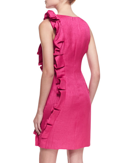 Sleeveless Side-Ruffle Cocktail Dress, Hot Pink