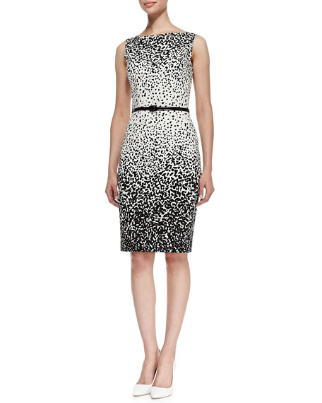 Sleeveless Dot-Print Belted Sheath Dress, Ivory/Black