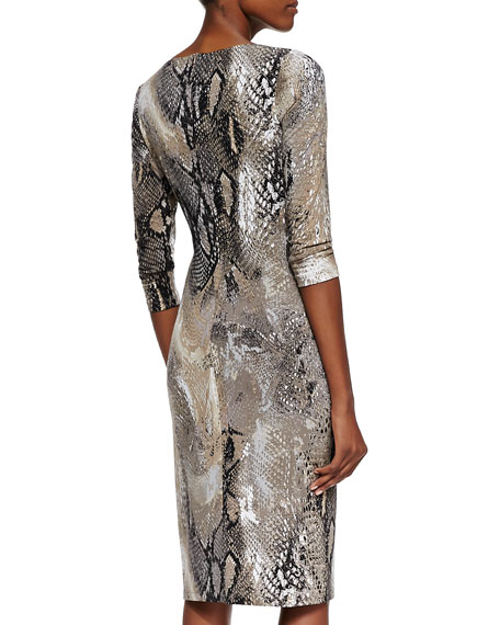 3/4-Sleeve Animal-Print Dress