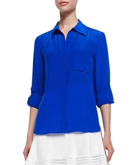 Lorelei Two Button-Down Blouse, Blue Diamond