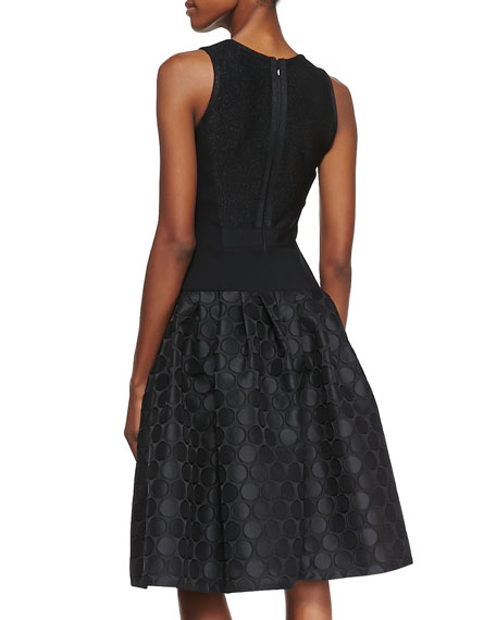 Sleeveless Dot Textured Skirt Cocktail Dress, Black