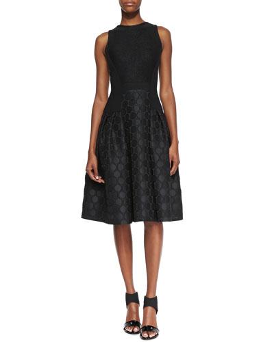 Carmen Marc Valvo Sleeveless Dot Textured Skirt Cocktail Dress, Black