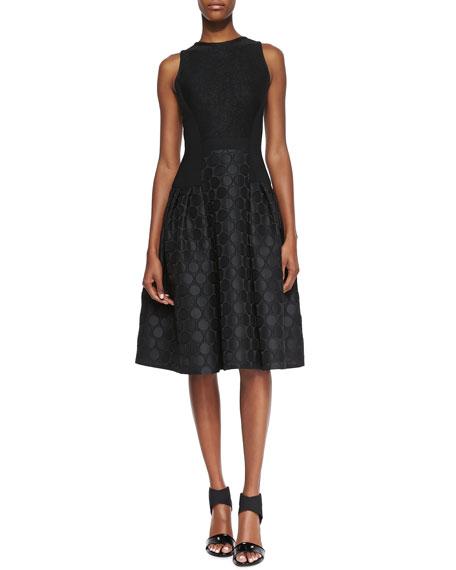 Sleeveless Dot Textured Skirt Cocktail Dress, Black