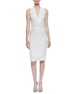 Badgley Mischka Collection V-Neck Twist-Front Cocktail Dress