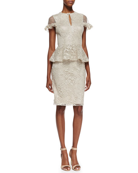 Cap-Sleeve Lace Peplum Cocktail Dress, Latte
