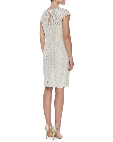 Cap-Sleeve Lace & Jacquard Dress, Ivory
