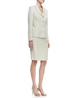Albert Nipon Seamed Skirt Suit, Celadon