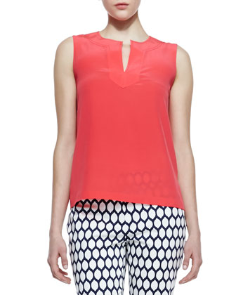 gemma sleeveless v-neck top, geranium