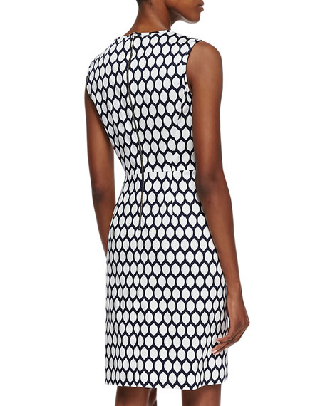 emrick sleeveless geometric lemon print dress, french navy/white