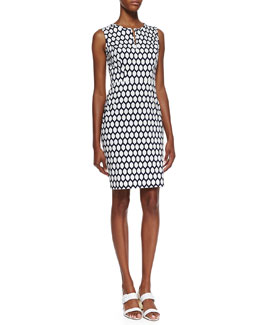 kate spade new york emrick sleeveless geometric lemon print dress, french navy/white