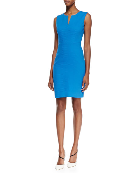 emrick sleeveless textured sheath dress, azure blue