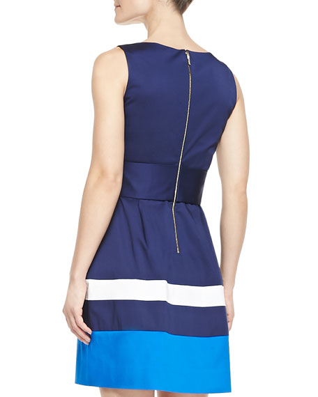 sawyer sleeveless belted colorblock dress, french navy/turquoise/white