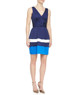 kate spade new york sawyer sleeveless belted colorblock dress, french navy/turquoise/white