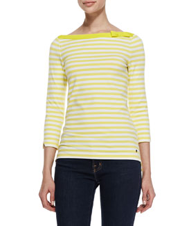 kate spade new york devon 3/4-sleeve striped top, lemon yellow/fresh white