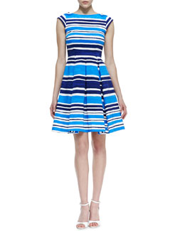 kate spade new york mariella fit-and-flare striped dress, french navy/turquoise/white