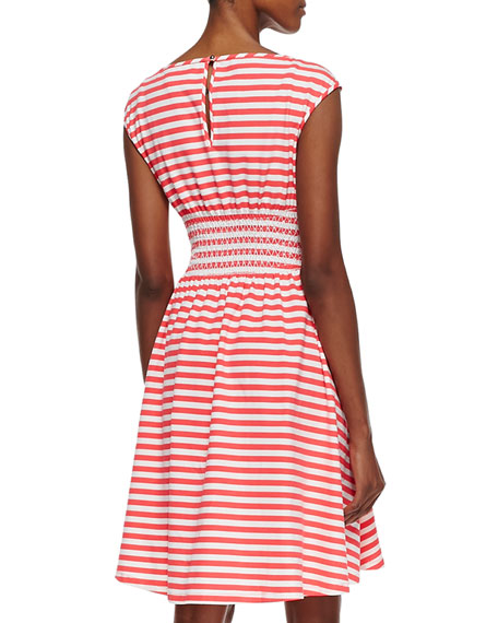 leora cap sleeve horizontally striped dress, geranium/cream
