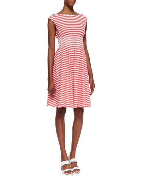 leora cap sleeve horizontally striped dress, geranium/cream