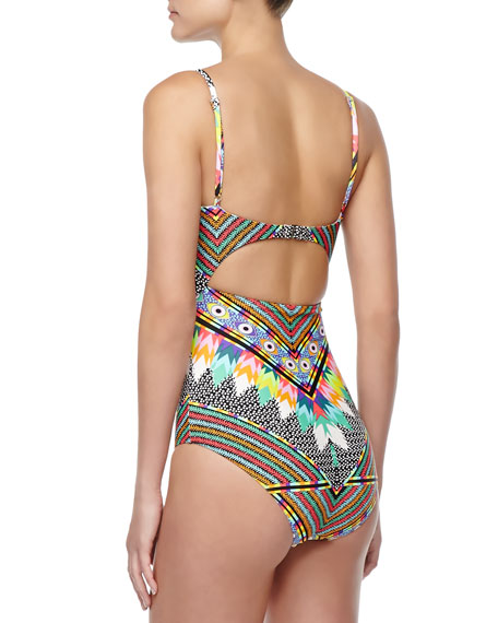 Cutout Printed One-Piece Swimsuit