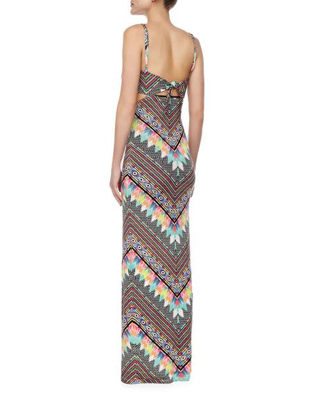 Printed Cutout Jersey Maxi Dress