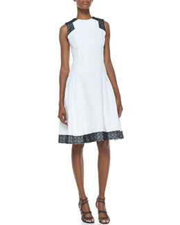 Carmen Marc Valvo Sleeveless Contrast Day Dress, White/Black