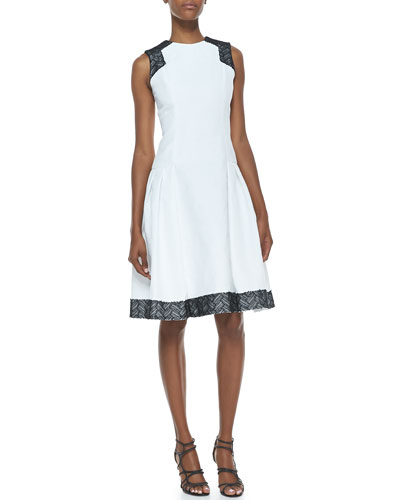 Sleeveless Contrast Day Dress, White/Black