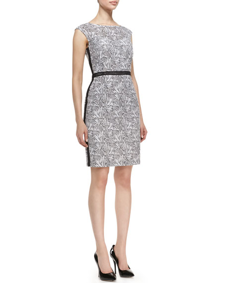 Cap-Sleeve Floral Sheath Dress, Black/White