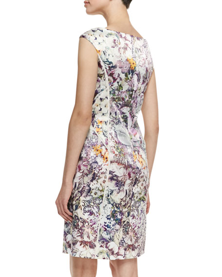 Off-Shoulder Printed & Seamed Dress, Multicolor