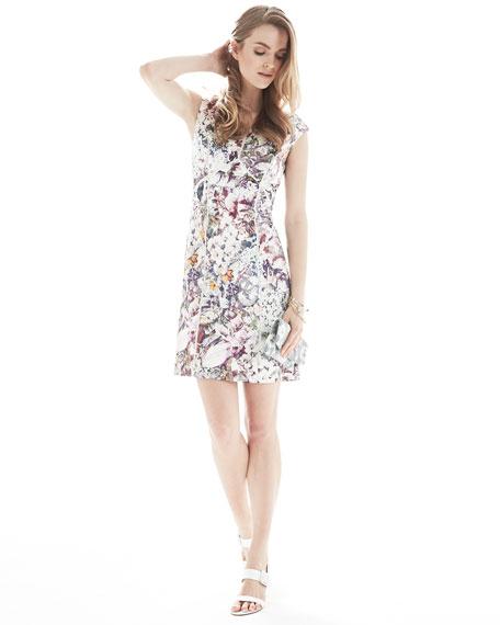 Off-Shoulder Printed & Seamed Dress, Multicolor