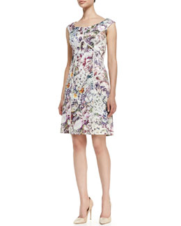 Kay Unger New York Off-Shoulder Printed & Seamed Dress, Multicolor