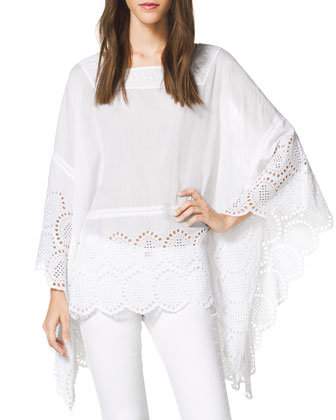 Square-Neck Eyelet Poncho, Women's