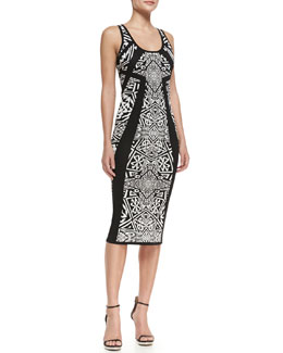 Nicole Miller Artelier Sleeveless Printed Knee Length Sheath Dress, Black/Ivory