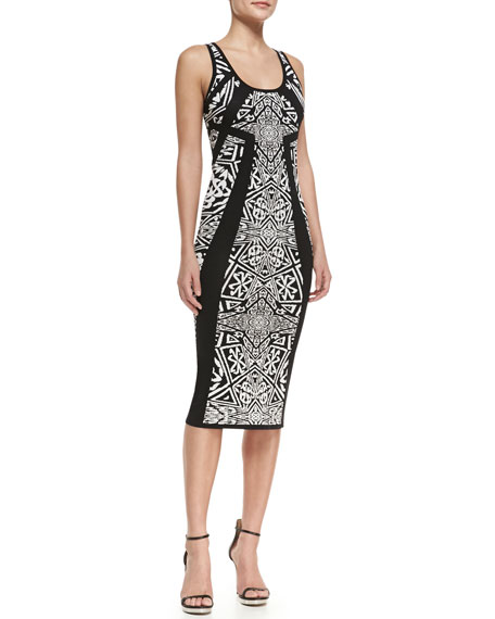 Sleeveless Printed Knee Length Sheath Dress, Black/Ivory