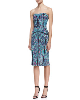 Nicole Miller Artelier Strapless Printed & Piped Seam Dress, Teal/Multicolor