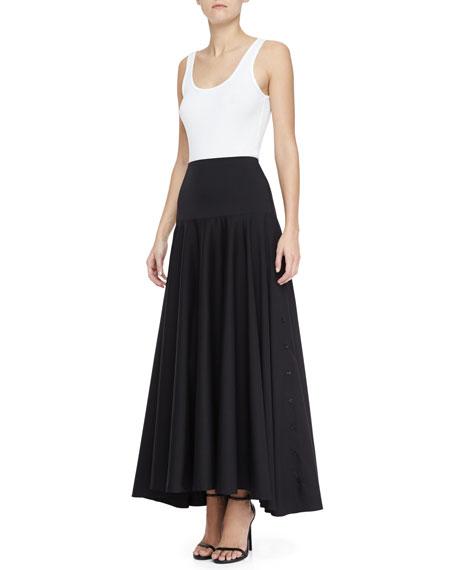 Long High-Low Shirting Skirt
