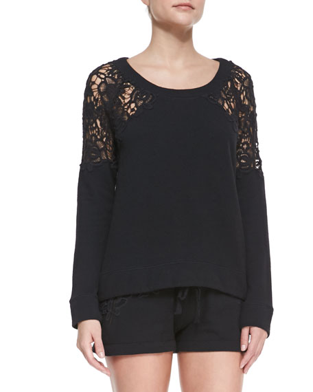 Lace-Shoulder Knit Sweatshirt