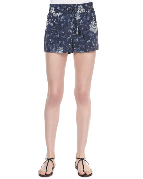 Floral-Print Knit Dolphin Shorts, Blue Faded Flower