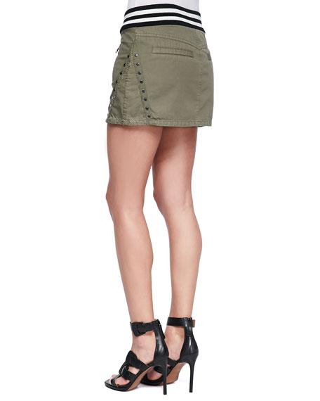 Studded & Striped Miniskirt, Army Green