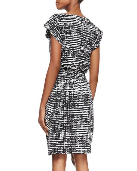 Faye Short-Sleeve Printed Dress, Black/White