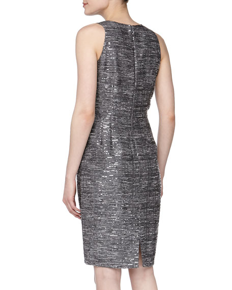 Sleeveless Sequined Sheath Dress, Pewter